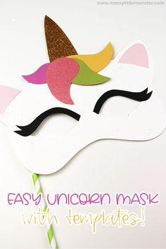 Easy unicorn mask craft for kids with unicorn mask template Easy unicorn mask craft for kids with unicorn mask template Creative Activities For Kids, Easy Crafts For Kids, Diy For Kids, Art Activities, Unicorn Mask, Unicorn Headband, Fairy Tale Crafts, Headband Crafts, Unicorn Coloring Pages