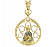Buddha pendant with blue sapphires (1ct) and diamonds (0.66ct). by Temple St Clair