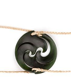 Dark Green NZ Pounamu Koru Necklace Set : Mountain Jade New Zealand - Artist :  Sheree Warren