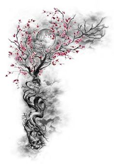 Cherry Blossom Tattoo: Meaning, Designs, Ideas and Much More! Sakura tattoos have been taking the world by storm lately. From what each color tattoo means to plenty of designs, this article will make you want to get a cherry blossom tattoo for yourself! Tattoo Drawings, Body Art Tattoos, New Tattoos, Tatoos, Pencil Drawings, Tree Drawings, Artwork Drawings, Wing Tattoos, Geniale Tattoos