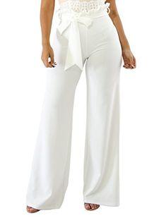 c934c15dca5e Women s High Waist Wide Leg Long Loose Bell Bottom Solid Color Pants with  Belt Boho Pants