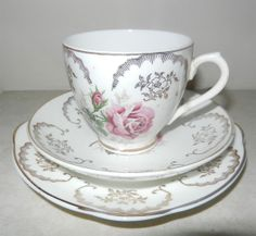 Dresden tea cup Trio decorated with Roses and gilded  http://www.ebay.com/itm/ws/eBayISAPI.dll?ViewItem&item=171177036701