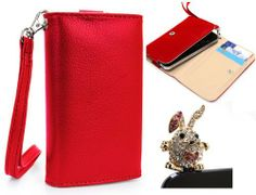 Apple iPhone 5 (Fits 16GB 32GB 64GB) Mobile Phone Wallet Red Clutch Carrying Cover Case Pouch with Bonus Gold Crystal Bunny Earphone Plug + EnvyDeal Velcro Cable Tie // Multiple Colors Available!! by Kroo. $11.50. Bundle Includes one Mini Gold Crystal Bunny Earphone Plug that can be plugged into the headphone jack while not in use for decoration. What better way to protect your brand new device than this stylish but practical wallet. All orders for this smartphone...