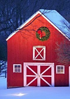 red barn at Christmas