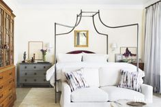Modern Neutral Bedroom with Antiqued-Polished-Steel Bed   LuxeSource   Luxe Magazine - The Luxury Home Redefined