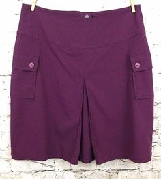 Christopher & Banks 10 Plum Purple Pleated Front Skirt Button Pockets Stretch #ChristopherBanks #Pleated