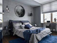 Stealth Flat by iPozdnyakov Studio - Bedroom - Haus Design Blue Bedroom Decor, Home Bedroom, Bedroom Furniture, Bedroom Ideas, Bedroom Designs, Grey Wall Bedroom, Blue Gray Bedroom, Warm Bedroom, Bedroom Night