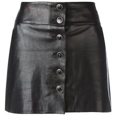 View this item and discover similar a-line skirts for sale at - Perfect for adding tough-luxe to a look, this Chanel black leather mini skirt features a button-down front, finished with metallic monogram medallions. Real Leather Skirt, Black Leather Mini Skirt, Metallic Skirt, Skirts For Sale, Chanel Black, Chanel Mini, Coco Chanel, Vintage Leather, Metallic Leather
