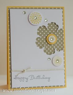 Really digging the punch out on the front with designer paper behind right now ...  Stampin up - love this card, plus lots of other super ideas on her blog!