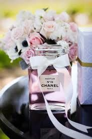 Centerpieces with Chanel perfume bottles. Love!