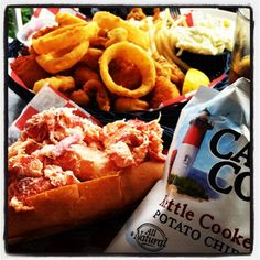 Lobster roll, fried clams, & onion rings! Great cape cod food nearby!
