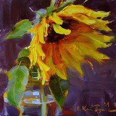 August Sunflower by Elena Katsyura Oil ~ 6 x 6