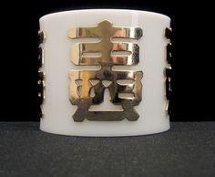 Vintage Napier Large Lucite / Plastic Chinese Cuff Bracelet