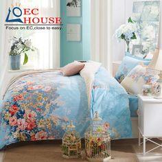 Хлопок четыре части набор 1.8 м хлопок постельные принадлежности постельные принадлежности 1.5 м кровать для детей весной и летом