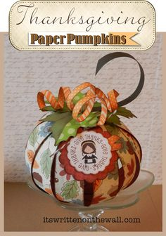 Thanksgiving Paper Pumpkin for Decor/Place Card