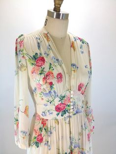 Vintage 1940's Sheer floral maxi dress - Desert Vintage