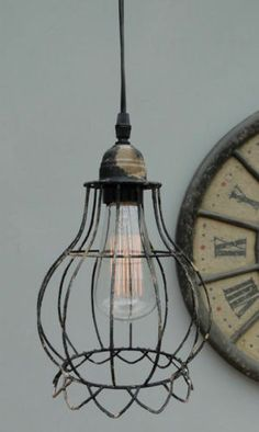 Vintage edison metal wire cage hanging lamp shade pendant light iron balloon cage wire steel antique style factory greentooth Image collections