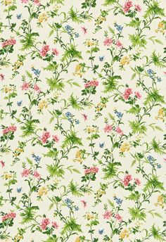 Primrose Hill by Sanderson - Red / Yellow / Green - Fabric : Wallpaper Direct Papel Vintage, Vintage Paper, Decoupage, Background Vintage, Paper Background, Vintage Backgrounds, Green Fabric, Floral Fabric, Scrapbook Paper