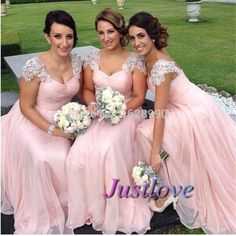 Find More Prom Dresses Information about vestido formatura 2015 Elegant Lace Appliques Beaded Cap Sleeves Pink Prom Dresses Gown Chiffon Long Evening Bridesmaid Dresses,High Quality cap sleeve flower girl dress,China dress puzzle Suppliers, Cheap dresse from Justlove international wedding dress Ltd. on Aliexpress.com