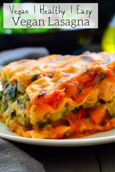 Lasagna This vegan lasagna is packed with veggies, flavourful and creamy without a shred of fake vegan cheese or tofu!This vegan lasagna is packed with veggies, flavourful and creamy without a shred of fake vegan cheese or tofu! Vegan Breakfast Recipes, Vegan Snacks, Vegan Dinners, Vegetarian Recipes, Cooking Recipes, Healthy Recipes, Vegan Lunches, Vegan Foods, Healthy Foods