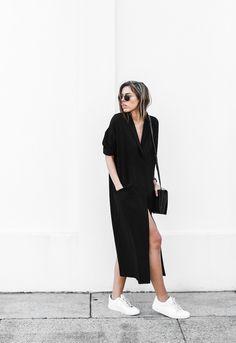 modern legacy blog ASOS duster coat black dress sneakers street style Alexander…