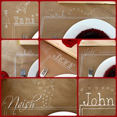 Big roll brown paper for self styled and decorated tablescape. Can also be a great decorating project for the kids table at Thanksgiving/Holidays. Except in my family would be more like the adults.