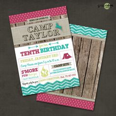 girl camp birthday party invitation, wood, chevron, campfire, deer, tent, printable, custom on Etsy, $14.00