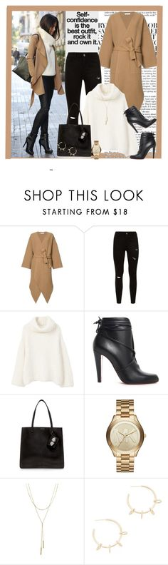 """""""Cashmere Coat"""" by alisha-666 ❤ liked on Polyvore featuring J.W. Anderson, MANGO, Christian Louboutin, Carven, Michael Kors, Bloomingdale's and Justine Clenquet"""