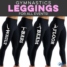 These leggings are the perfect way to show off your favorite event! Gymnastics workouts, moves and poses for beginners & advanced gymnasts. Ideas for workout & warm up clothes, gymnastics leotards, hoodies, sweatshirts and t-shirts Gymnastics Warm Ups, Gymnastics Wear, Gymnastics Shirts, Gymnastics Coaching, Gymnastics Quotes, Gymnastics Workout, Gymnastics Outfits, Olympic Gymnastics, Gymnastics Leotards