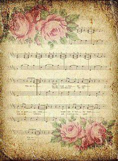 """""""Love is like a piece of music, where it would not be the same all the time. Thanks for staying with me, especially when my world falls apart. Decoupage Vintage, Papel Vintage, Decoupage Paper, Vintage Tags, Vintage Labels, Vintage Ephemera, Vintage Postcards, Vintage Prints, Sheet Music Art"""