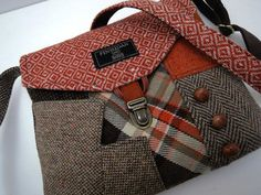 Functional and classy, recycled suit coat purse makes the statement! I designed and made this purse using recycled mens suit coats,the front of the