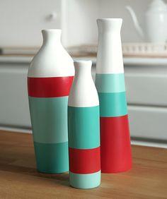 Set of 3 Painted Ceramic Vases Home Decor  by ShadeonShape on Etsy