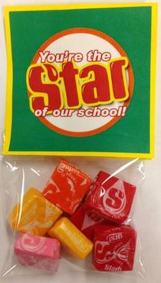 Teacher appreciation gifts using Starburst.  You're the star of our school!  Links to a free printable!