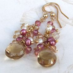 Champagne citrine earrings, handmade gold filled, pink topaz, pink and white pearl earrings-OOAK