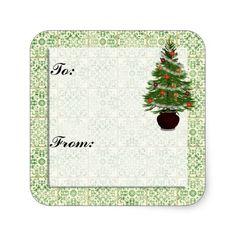 Christmas Tree Gift Tag Sticker