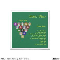 Billiard House Rules Standard Cocktail Napkin - $43.97 $79.95 per set of 50 napkins - Billiard House Rules Standard Cocktail Napkin - by #RGebbiePhoto @ zazzle - #billiards #pool #ball - The perfect compliment for your game room or man-cave! Example of 8 ball rack, with House Rules. APA, UPA, BCA league rules, or your own. Your friends will appreciate the racking tips! Billiard balls in 3D illustration. Set on a field of pool table green with bright yellow lettering.