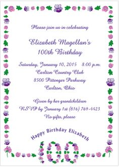 1000+ images about 100th Birthday Party on Pinterest | Birthday invitations, Birthday parties ...
