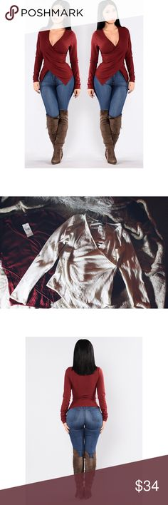 Two Ribbed Knit Tops - Large Two long sleeve v-neck top with an asymmetrical hem in ivory and burgundy. It shows some cleavage, but not too much and it's stretchy. You can dress it up or down very easily.  Material: 33% Rayon 53% Polyester 4% Spandex Fashion Nova Tops Blouses
