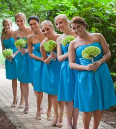 FancyBridesmaid.com Offers High Quality Simple Knee Length Turquoise Strapless Empire Waist Bridesmaid Dress,Priced At Only USD $85.00 (Free Shipping)