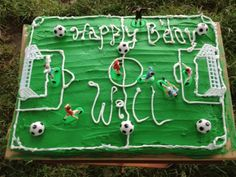 Ridiculously easy birthday cake.  May make for soccer-mad son on his next birthday.