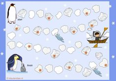Spelbord, thema Noordpool & Zuidpool, kleuteridee.nl , Gameboard Arctic theme preschool , free printable A3, with Englisch and Dutch game rules.