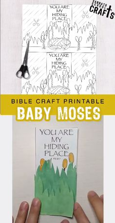 If you're looking for a great Sabbath school / Sunday school craft you can print the night before, this is one your kids will love! Remind children that Moses hid in TWO places - in the river reed Sunday School Crafts For Kids, Bible School Crafts, Bible Crafts For Kids, Sunday School Activities, Sunday School Lessons, Children's Sunday School, Youth Activities, Bible Stories For Kids, Bible Story Crafts
