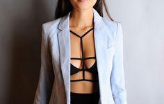 DIY strapped bra top - add serious drama to a boring black bra or bikini top with some black elastic.