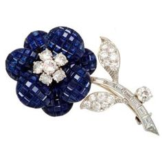 Invisibly Set Sapphire Diamond Flower Brooch, Van Cleef & Arpels - by mildred