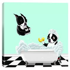 An eye-catching addition to your living room or master suite, this charming canvas print showcases a whimsical Boston terrier motif for an endearing touch.