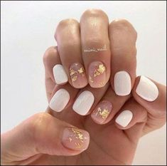 neutral nails with sparkle \ neutral nails ; neutral nails with sparkle ; neutral nails with accent ; neutral nails for pale skin ; Cute Nail Art Designs, White Nail Designs, Neutral Nail Designs, Neutral Nail Art, Foil Nail Designs, Nude Nails, My Nails, Acrylic Nails, Beige Nails