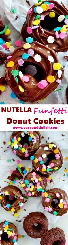 Quick Nutella Funfetti Donut Cookies -- easy to prepare in less than 30 minutes. They are made with a mixture of 5 simple ingredients and don't require pre-chilling in order to bake.