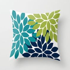 Bold Colorful Teal Green Navy Dahlia Flower Burst Petals Throw Pillow by TRM Design