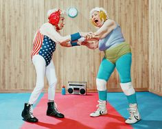 In his two-part series 'the golden years', LA-based photographer dean bradshaw has captured hilarious scenes of elderly men and women in the midst of super sport, wrestling, lifting weights and playing an intense game of basketball. outfits reflect the somewhat dated sense of style, with brightly colored bathing suits and neon short-shorts donning the fierce contenders while they compete. 2014