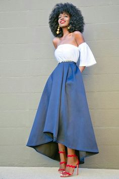 Short Off The Shoulder Top + High Low Tea Length Skirt (Style Pantry) Skirt Outfits, Casual Outfits, Cute Outfits, Modest Fashion, Fashion Outfits, Fashion Trends, Skirt Fashion, Moda Afro, Tea Length Skirt